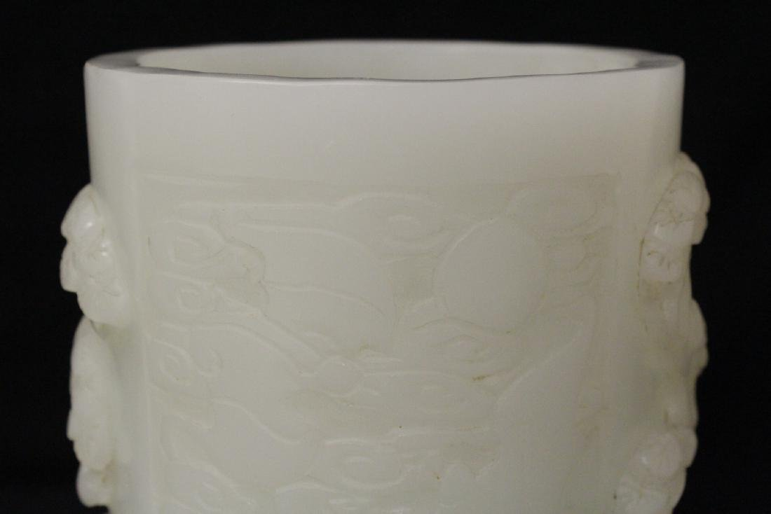 A magnificent large white Peking glass brush holder - 4
