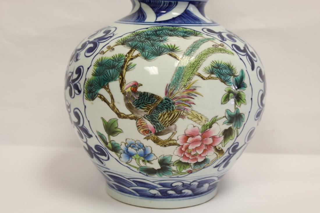 Chinese wucai gourd shape vase - 7