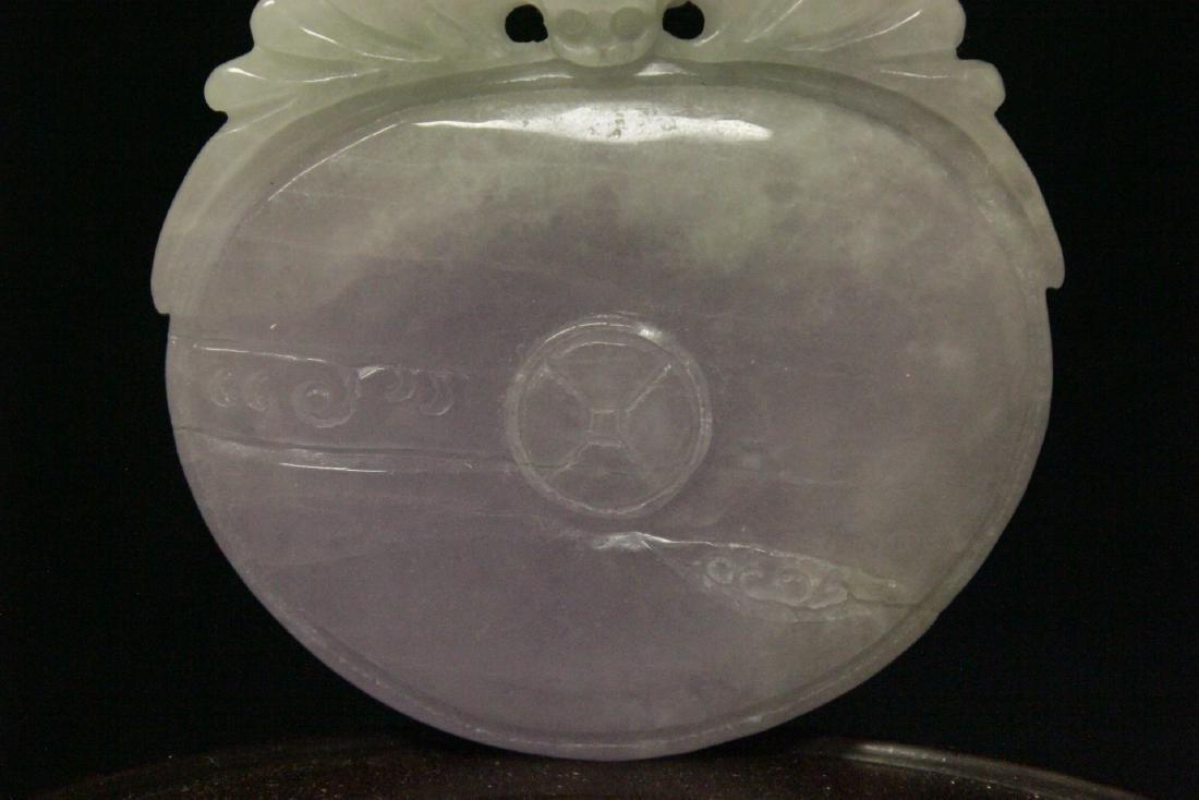 Chinese deep purple lavender jadeite pendant - 3