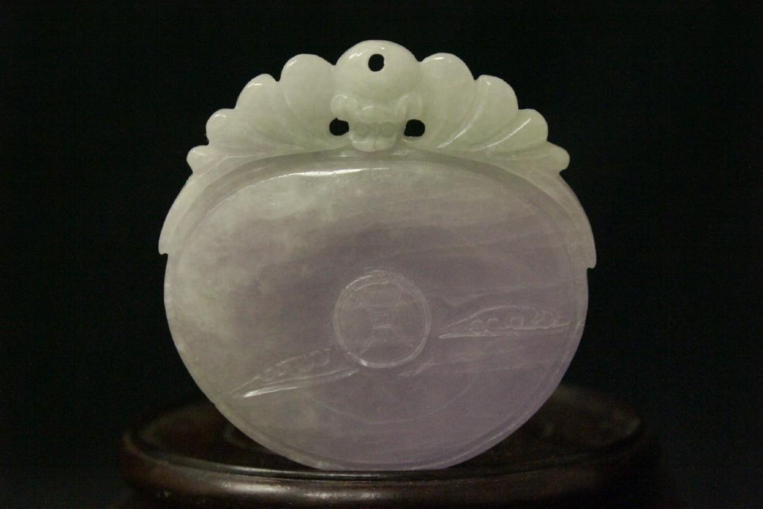 Chinese deep purple lavender jadeite pendant - 5
