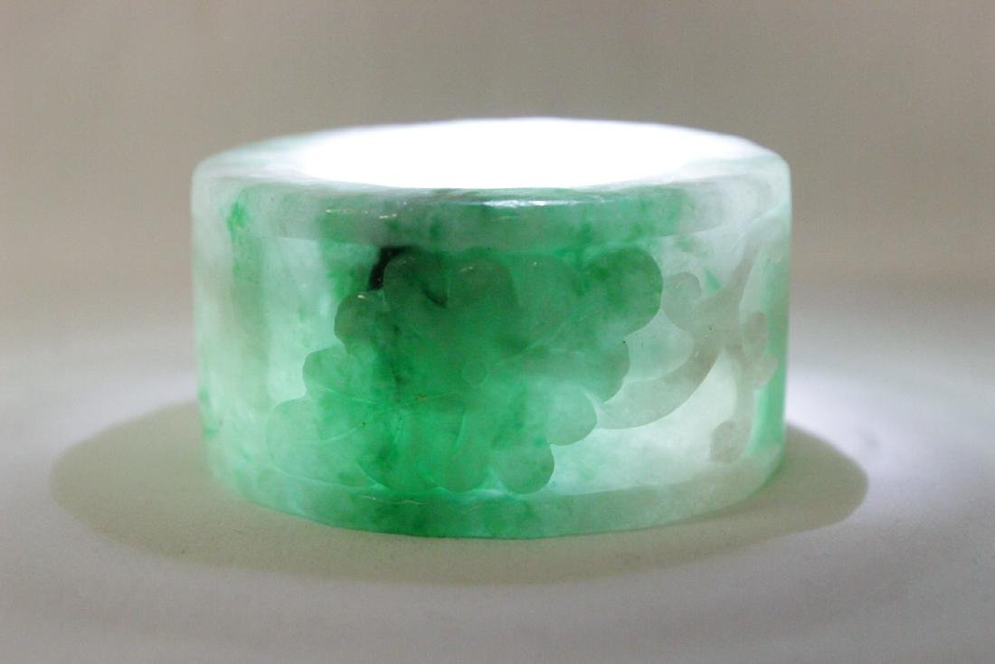 Unusual Chinese apple green jadeite carving - 9