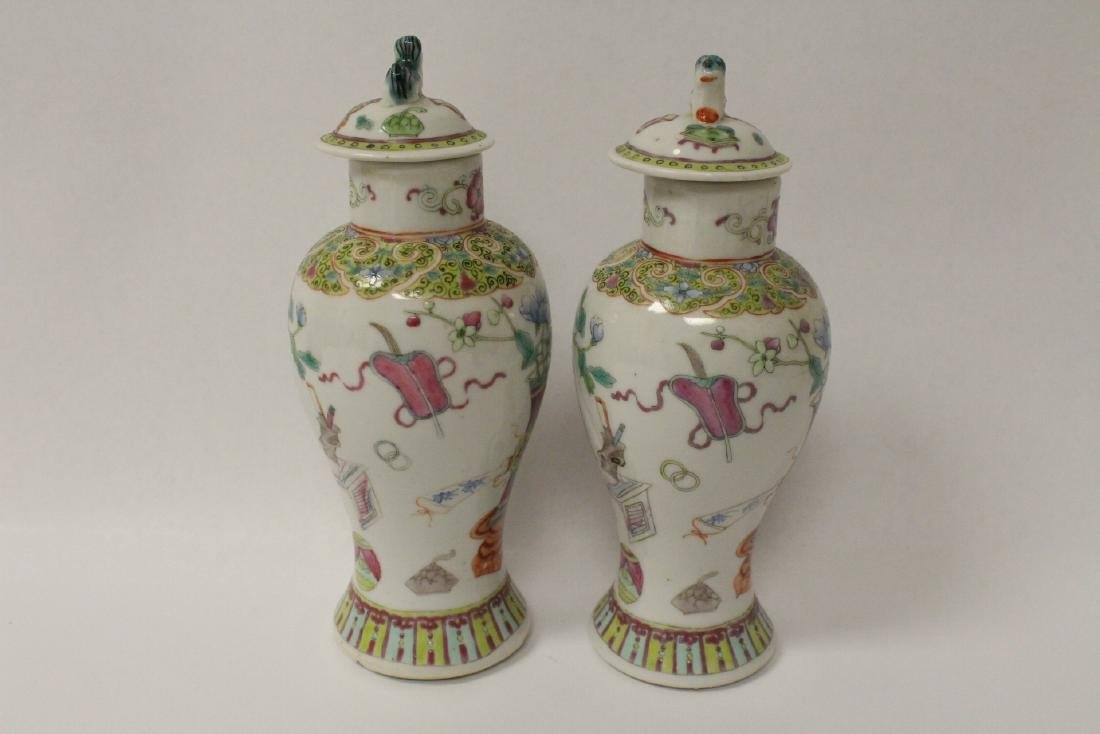 Pair famille rose porcelain covered jars - 4