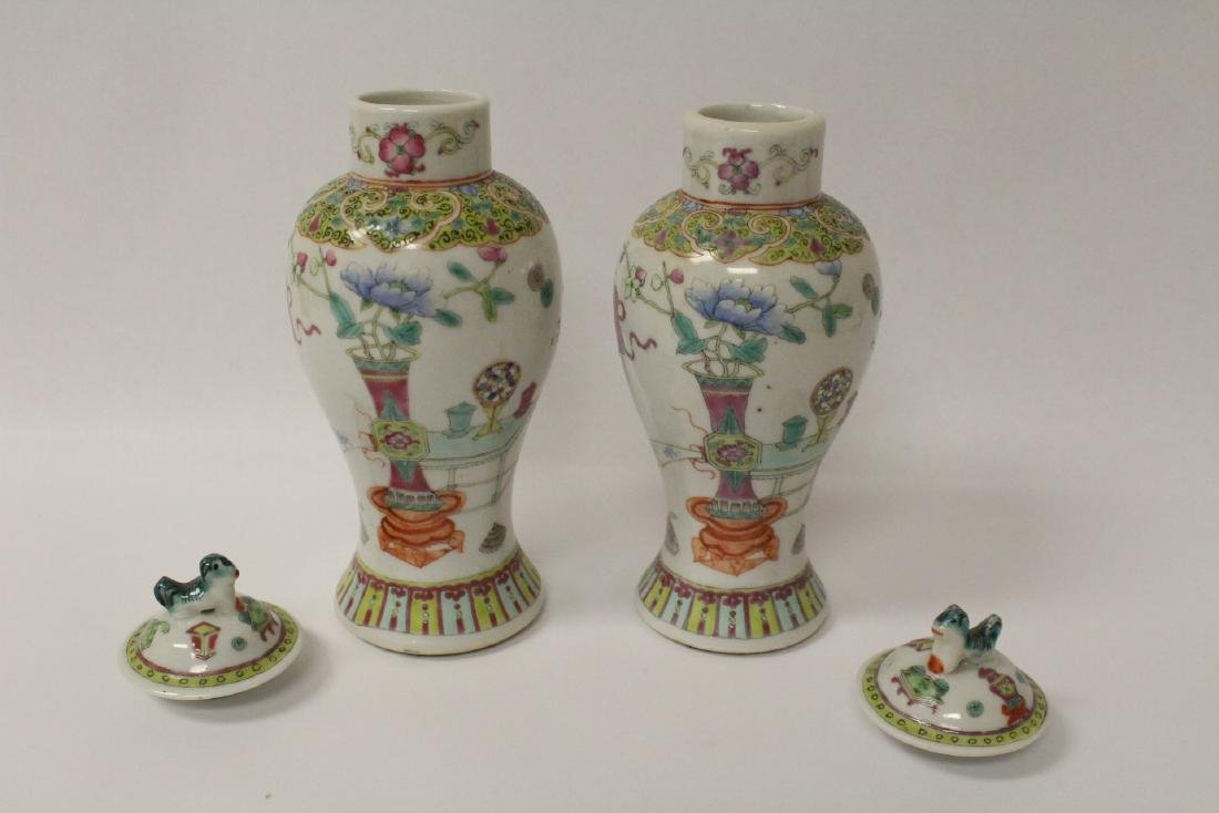 Pair famille rose porcelain covered jars - 5