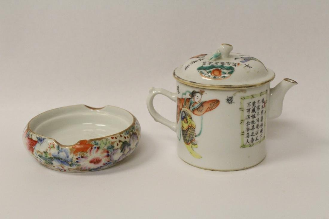 2 Chinese famille rose porcelain pieces