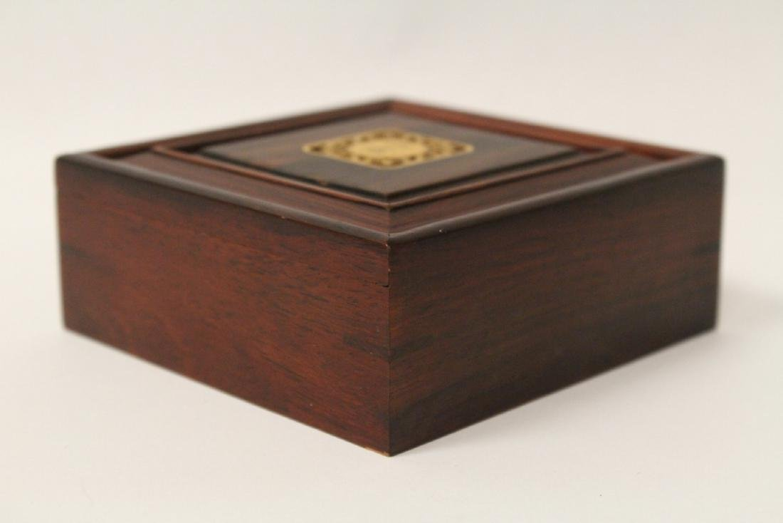 Pair Chinese small rosewood boxes - 4