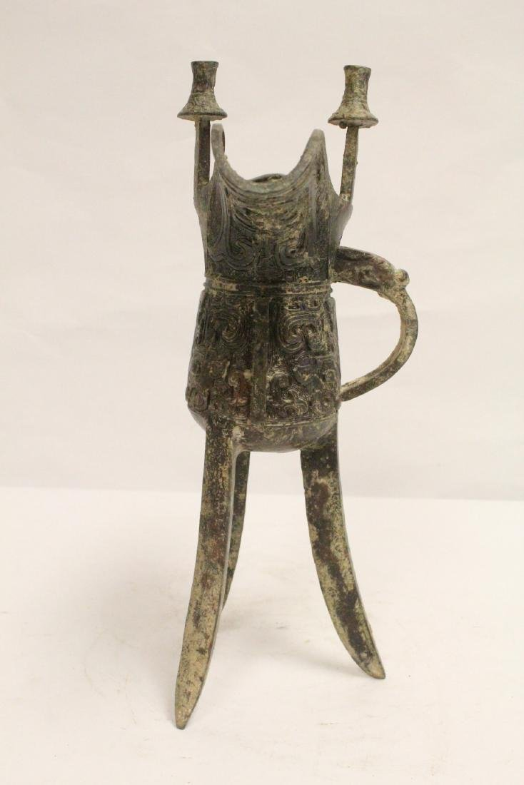 Chinese archaic style bronze wine cup - 2