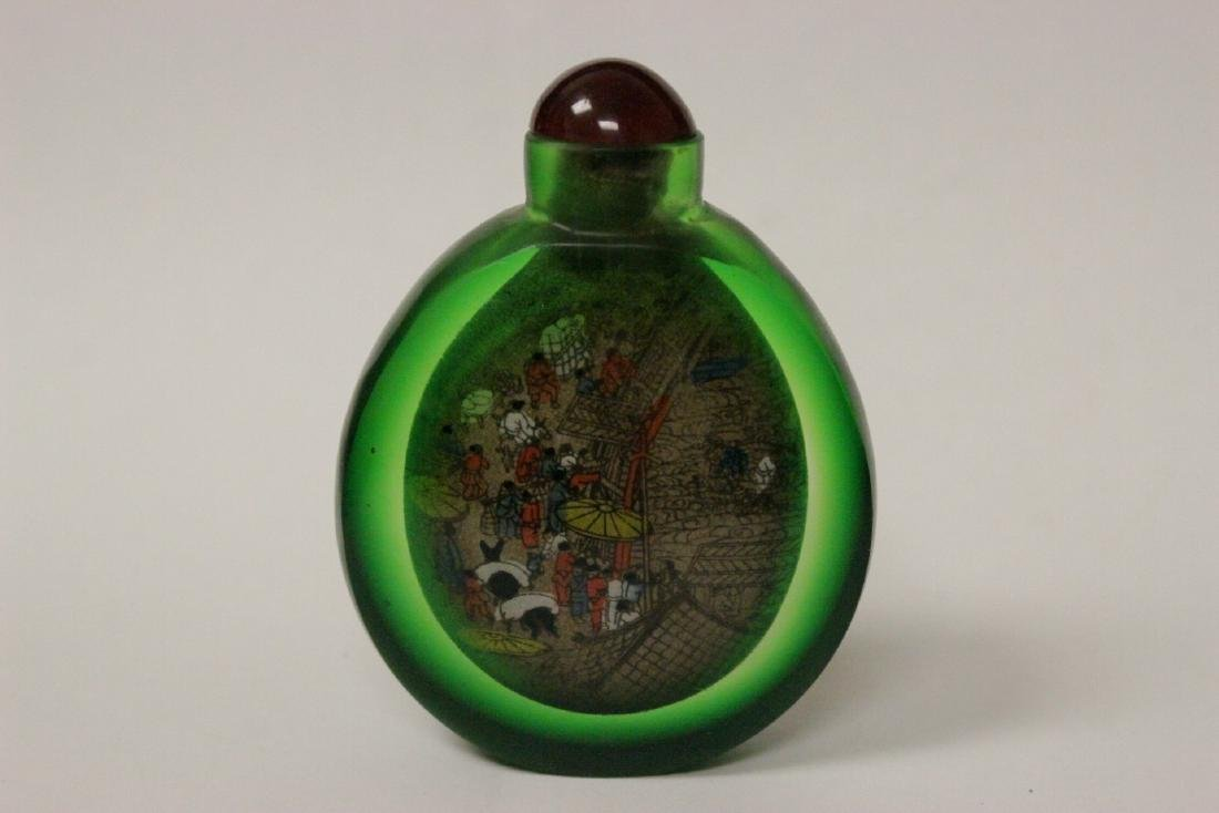 A green inside painted snuff bottle