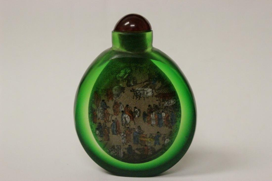 A green inside painted snuff bottle - 3