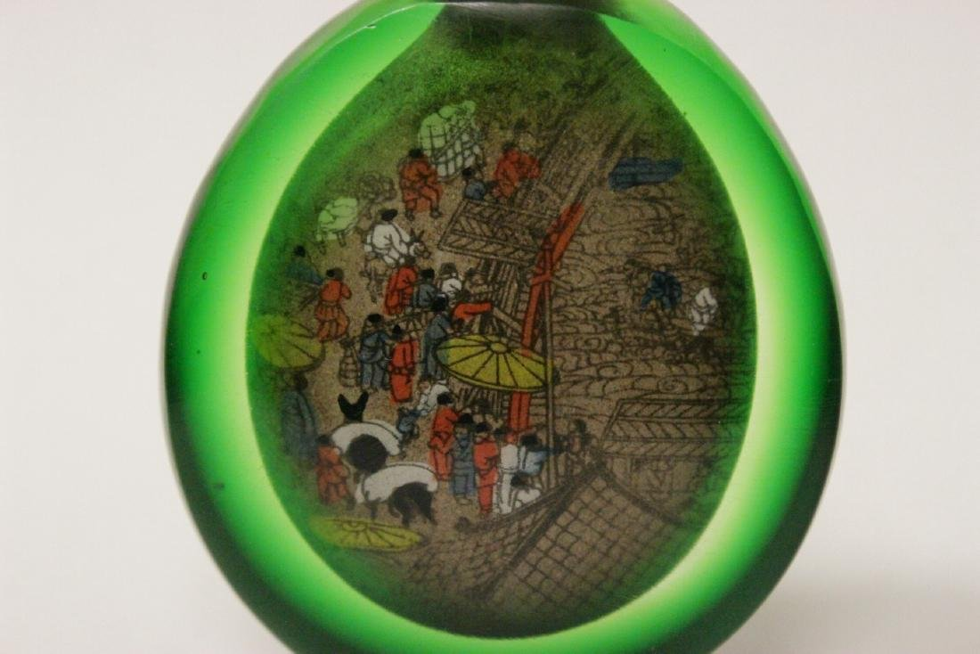A green inside painted snuff bottle - 5