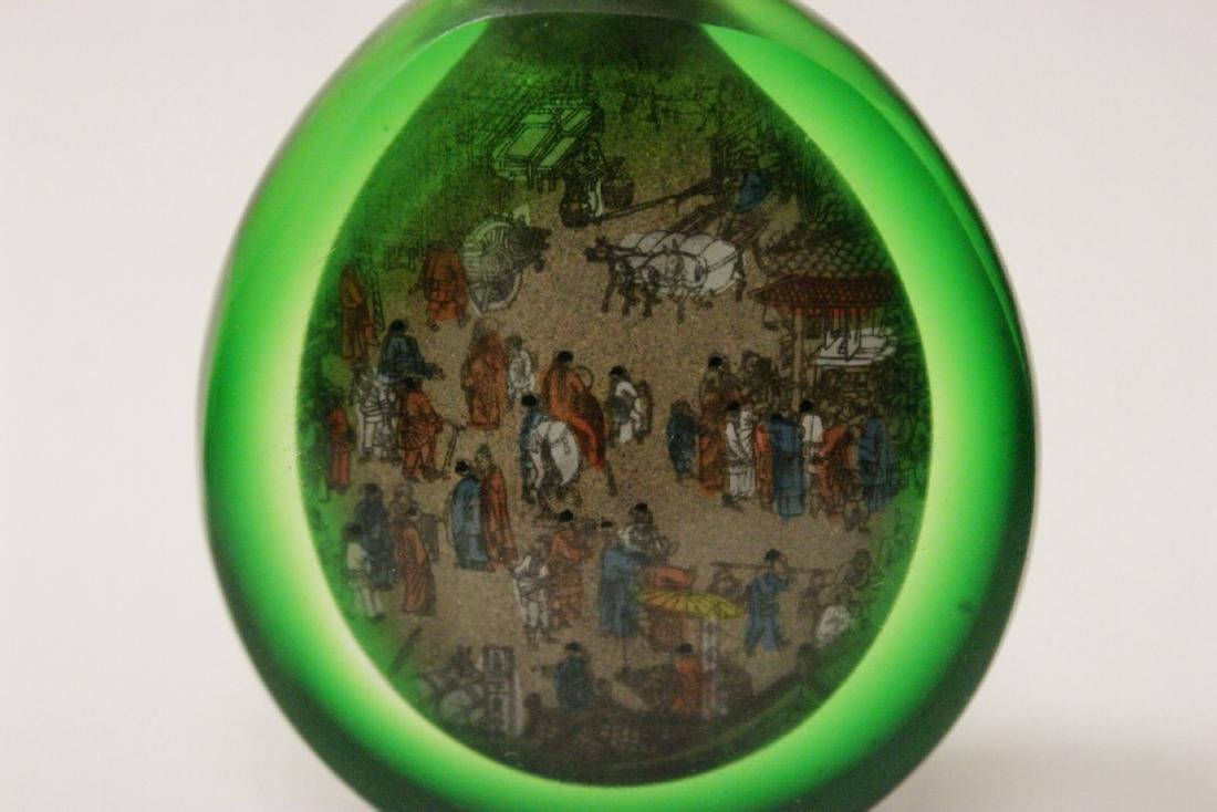 A green inside painted snuff bottle - 6
