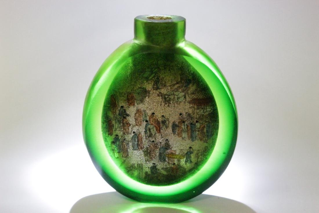 A green inside painted snuff bottle - 9
