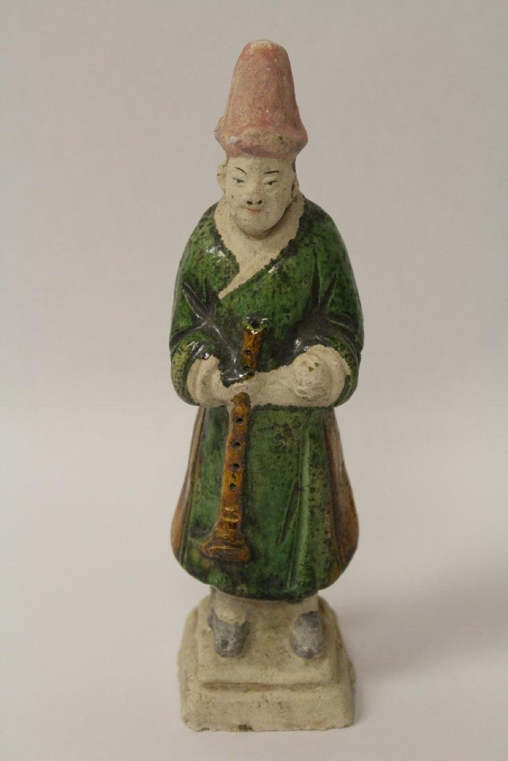 4 Ming style sancai glazed attendants - 6