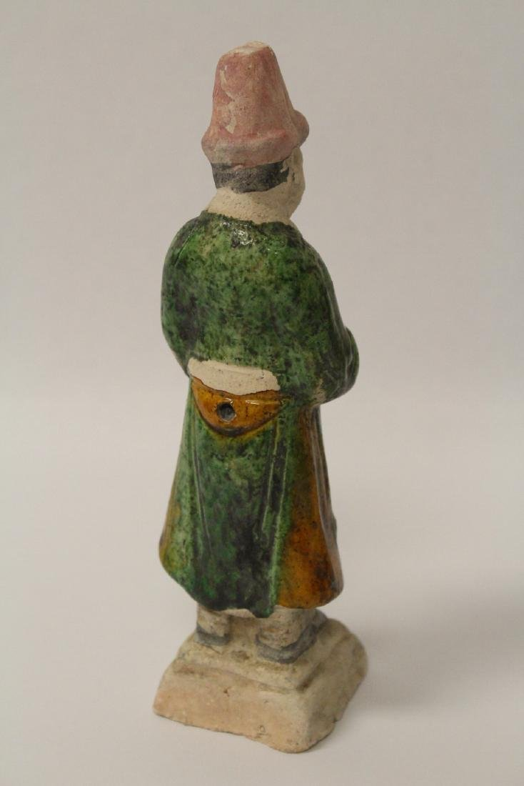 4 Ming style sancai glazed attendants - 7