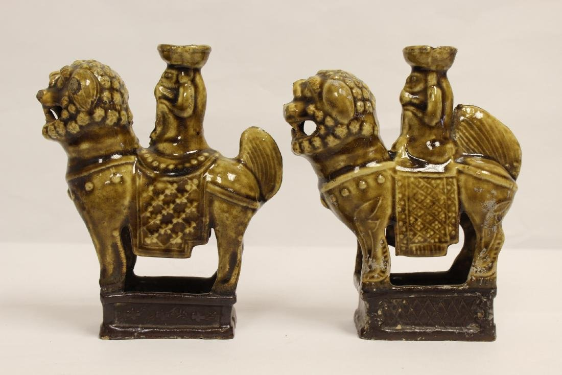 Pair brown glazed candle holders in animal motif - 2