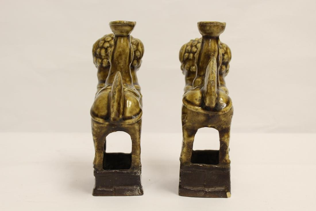Pair brown glazed candle holders in animal motif - 3