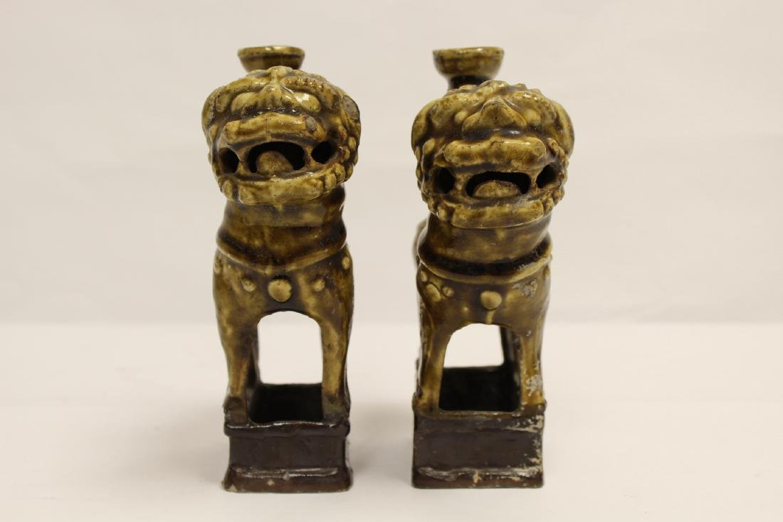 Pair brown glazed candle holders in animal motif - 5