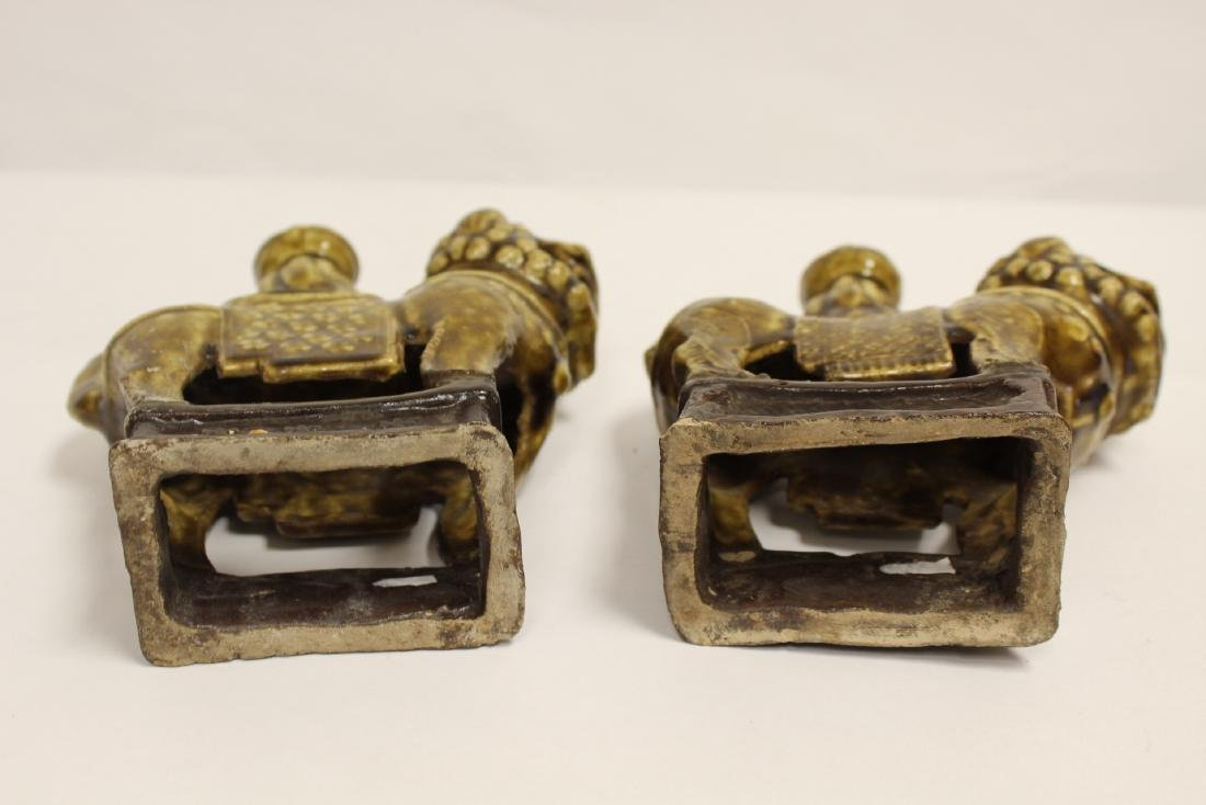 Pair brown glazed candle holders in animal motif - 7