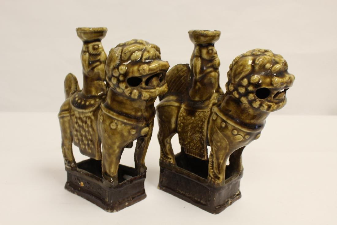Pair brown glazed candle holders in animal motif - 8