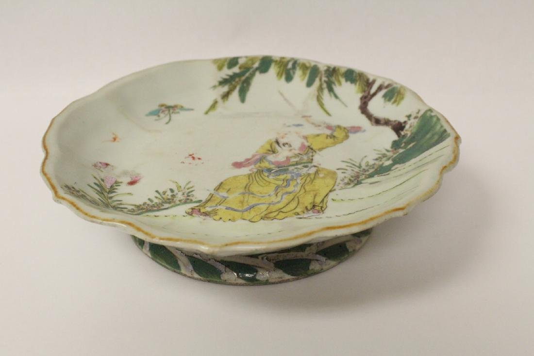 Chinese antique famille rose porcelain stem plate