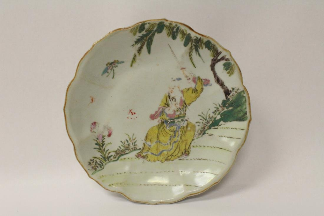 Chinese antique famille rose porcelain stem plate - 5
