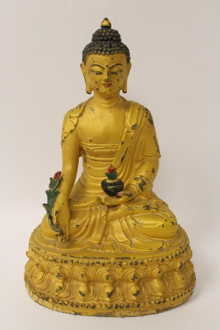 Chinese bronze sculpture of seated Buddha - 2