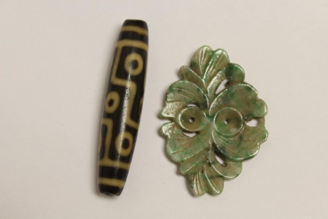 Chinese jadeite carving and a dzi bead style bead