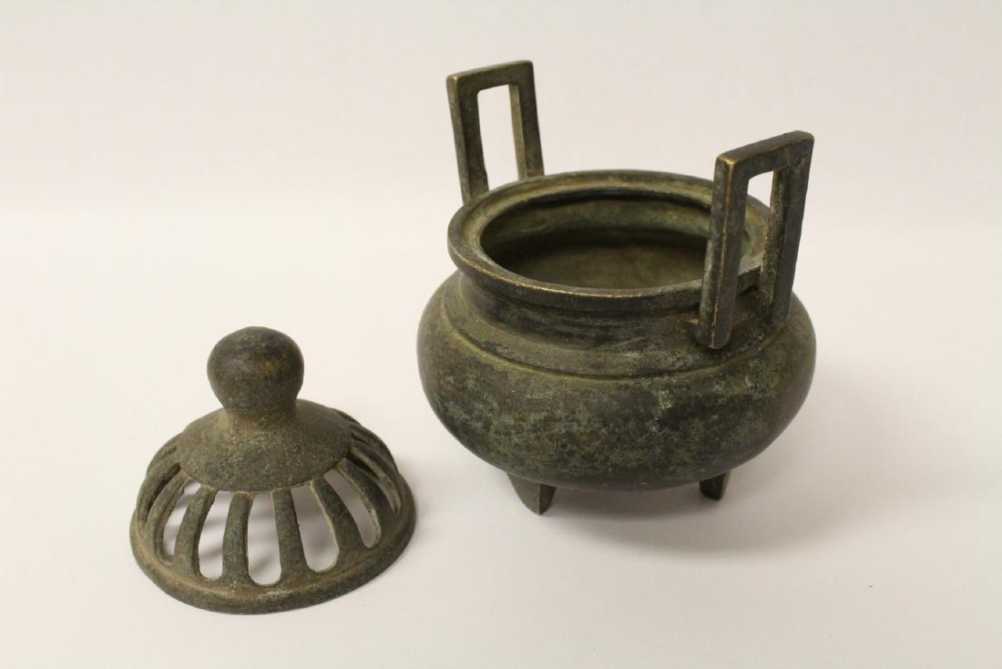 Chinese bronze covered censer - 4