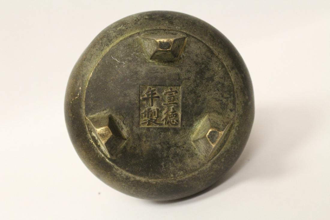 Chinese bronze covered censer - 8