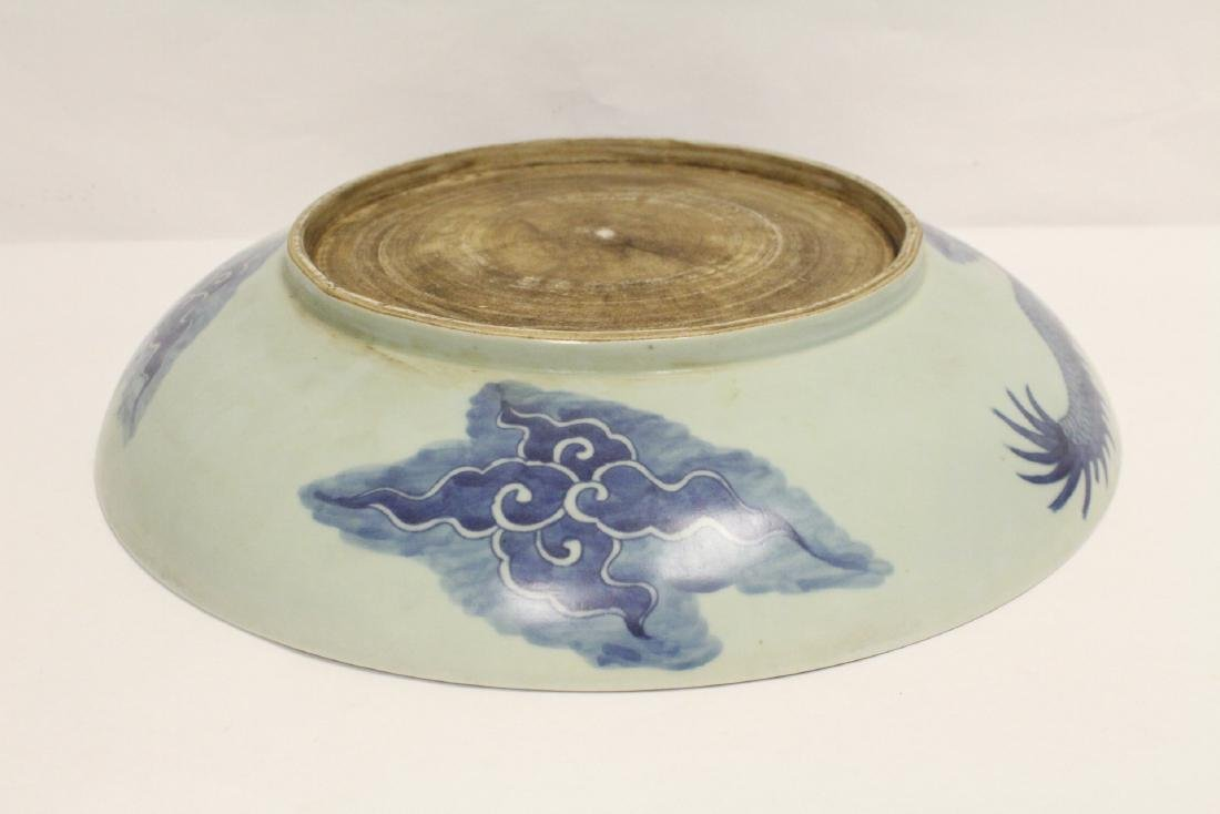 A large Chinese blue and white charger - 9