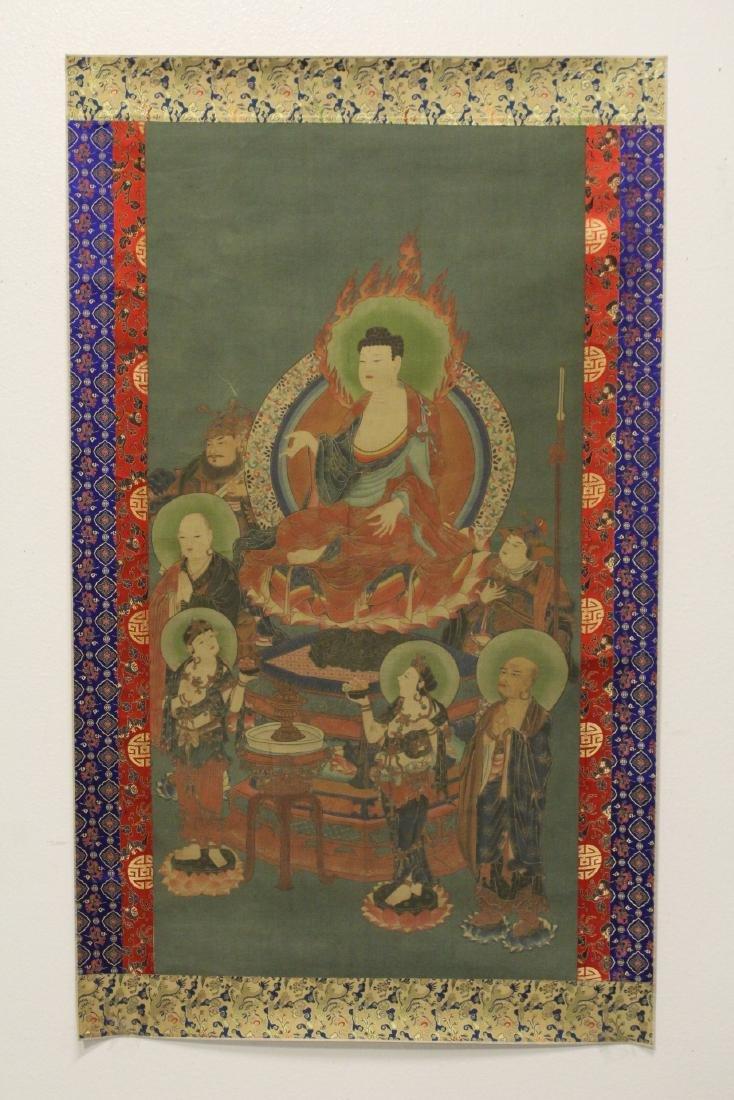 Tibetan thangka on silk panel