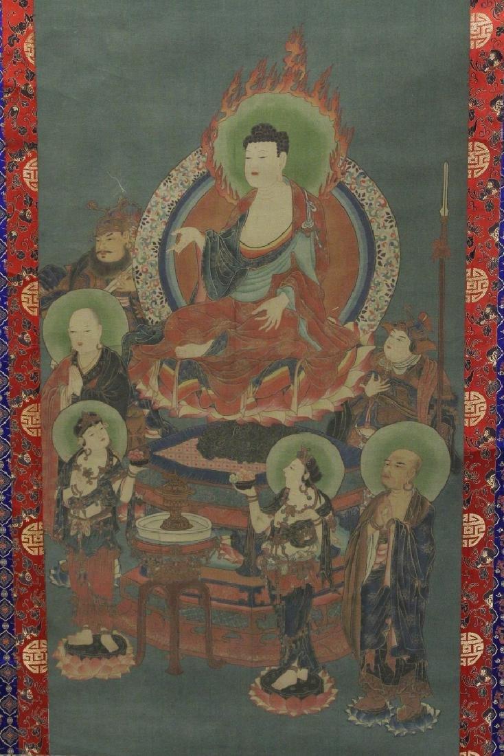 Tibetan thangka on silk panel - 2
