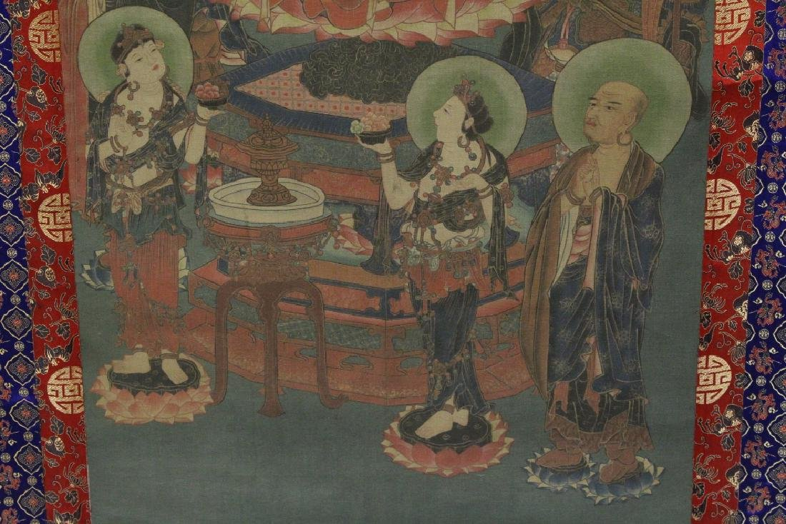 Tibetan thangka on silk panel - 3