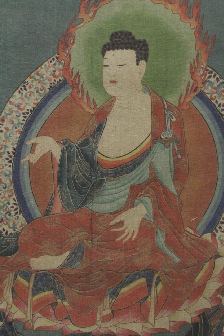 Tibetan thangka on silk panel - 5