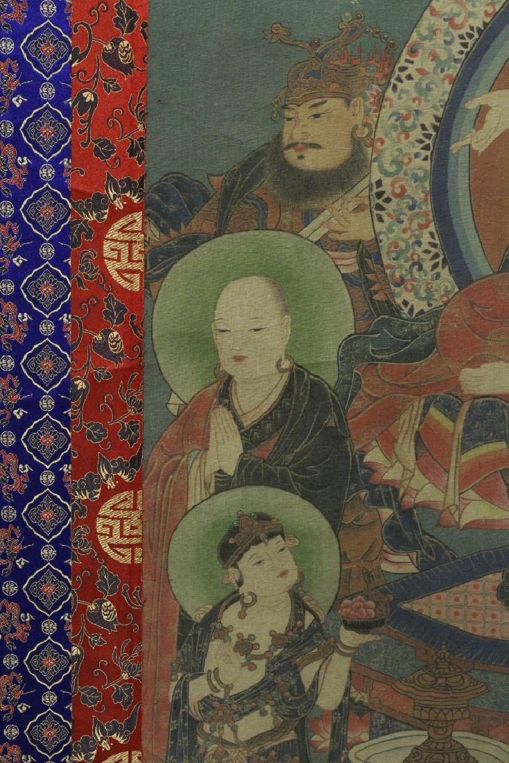 Tibetan thangka on silk panel - 6