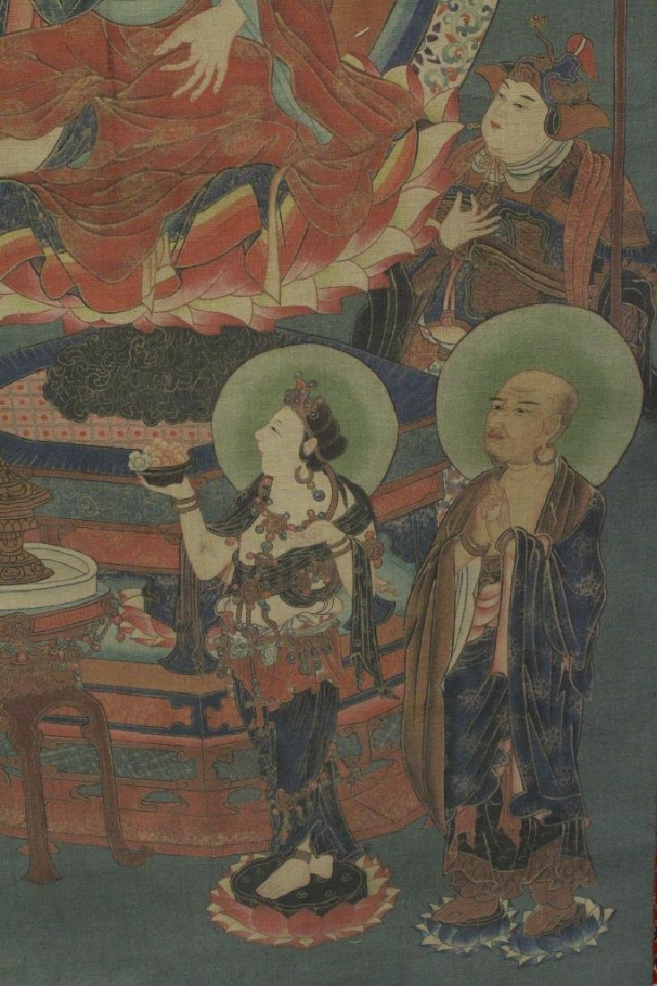 Tibetan thangka on silk panel - 7