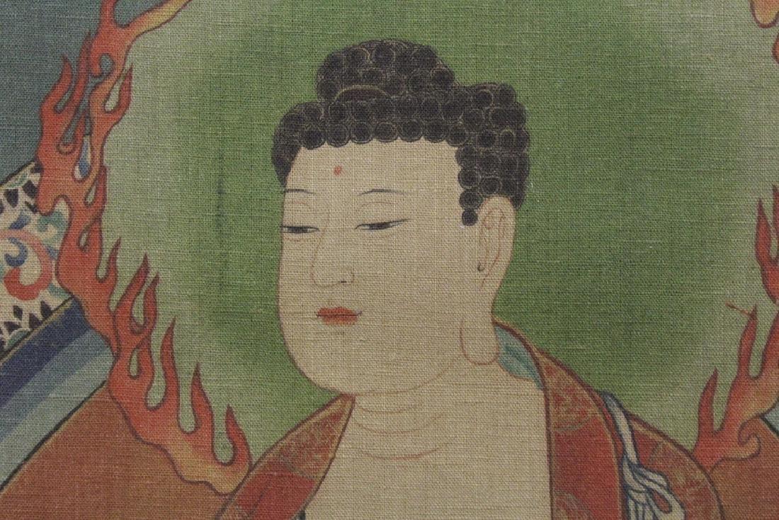 Tibetan thangka on silk panel - 8