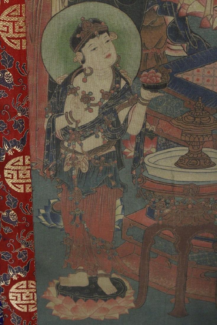 Tibetan thangka on silk panel - 9
