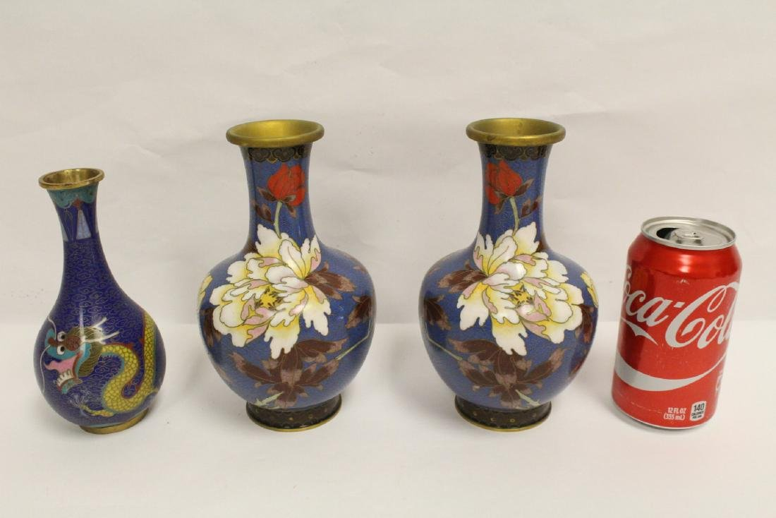 3 Chinese cloisonne vases, one decorated with dragon
