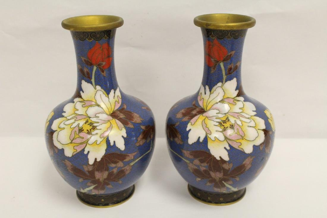3 Chinese cloisonne vases, one decorated with dragon - 2