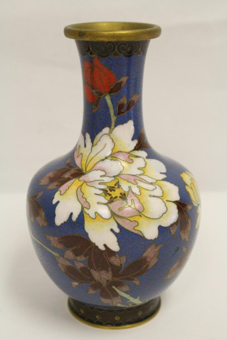 3 Chinese cloisonne vases, one decorated with dragon - 5