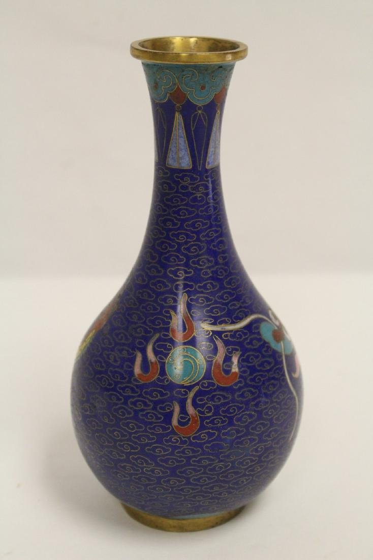 3 Chinese cloisonne vases, one decorated with dragon - 8