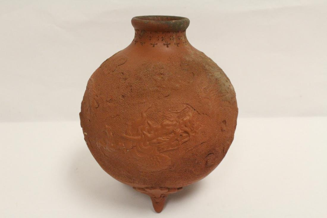 Antique Chinese red clay pottery jar