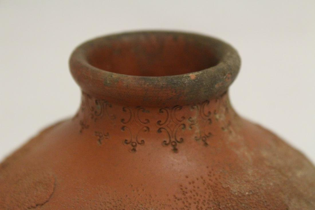 Antique Chinese red clay pottery jar - 4