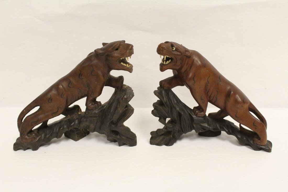 2 fine Chinese wood carved tigers