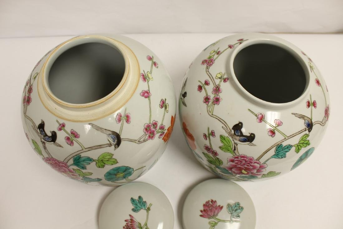 2 Chinese famille rose porcelain covered jars - 10