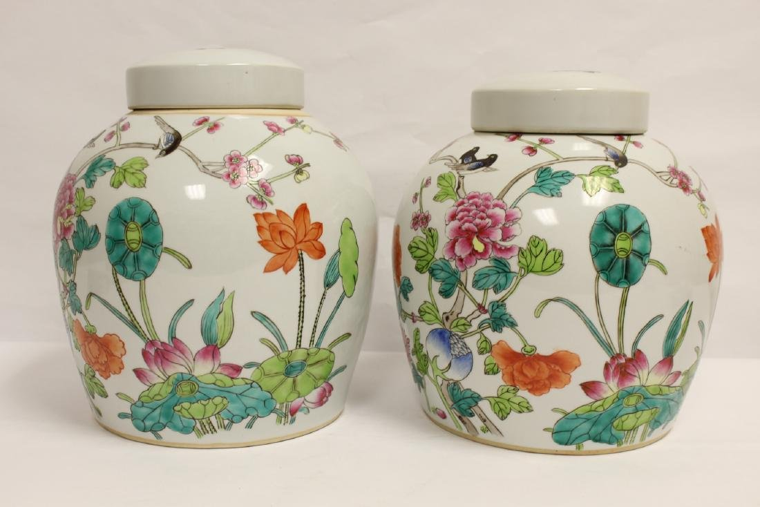 2 Chinese famille rose porcelain covered jars - 2