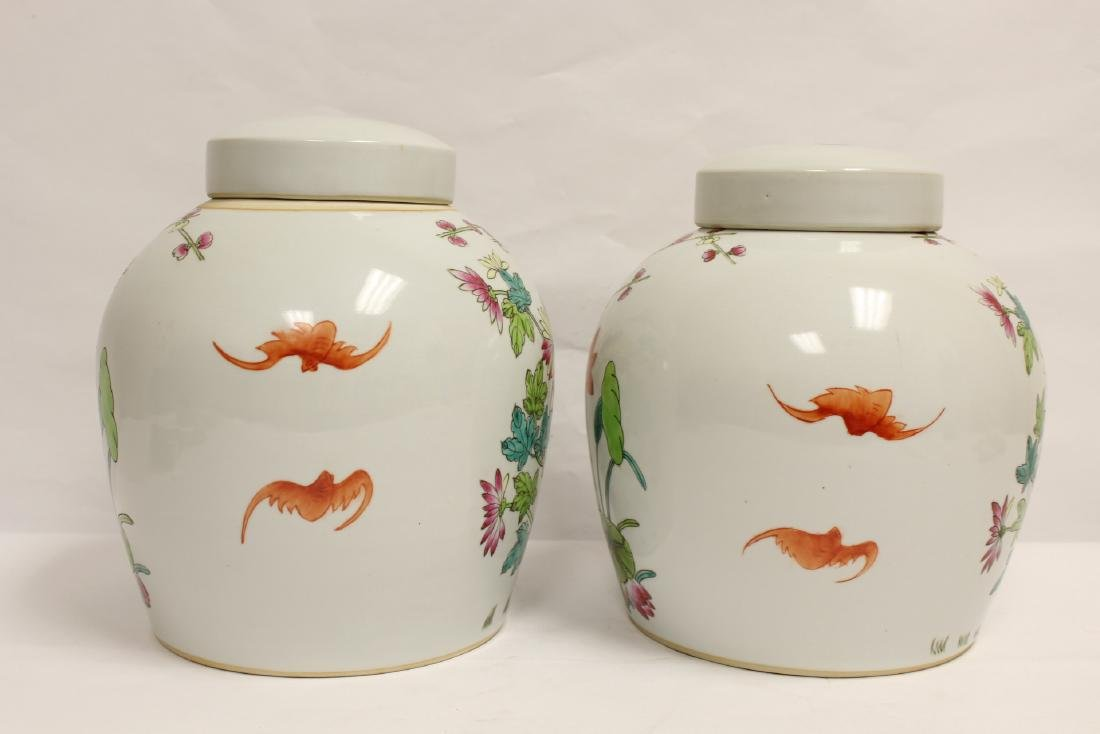 2 Chinese famille rose porcelain covered jars - 3