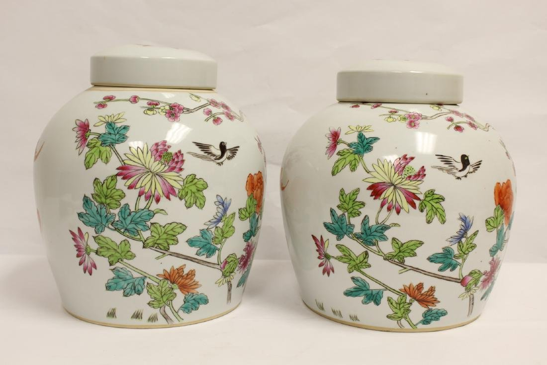 2 Chinese famille rose porcelain covered jars - 4