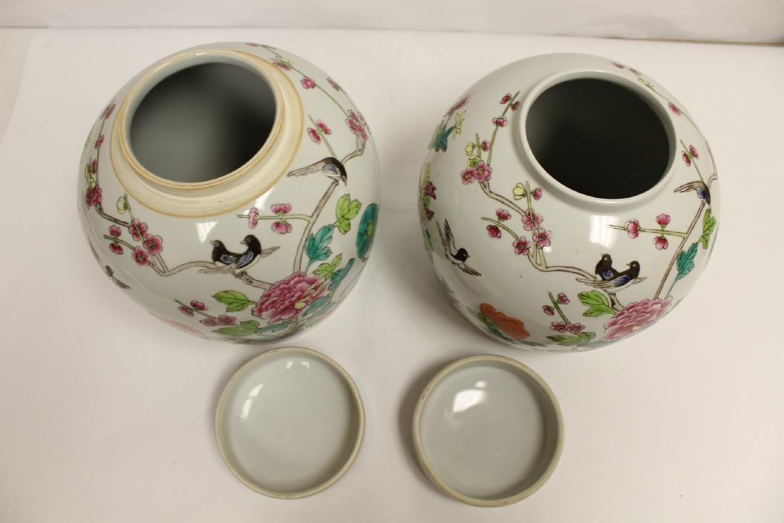 2 Chinese famille rose porcelain covered jars - 6