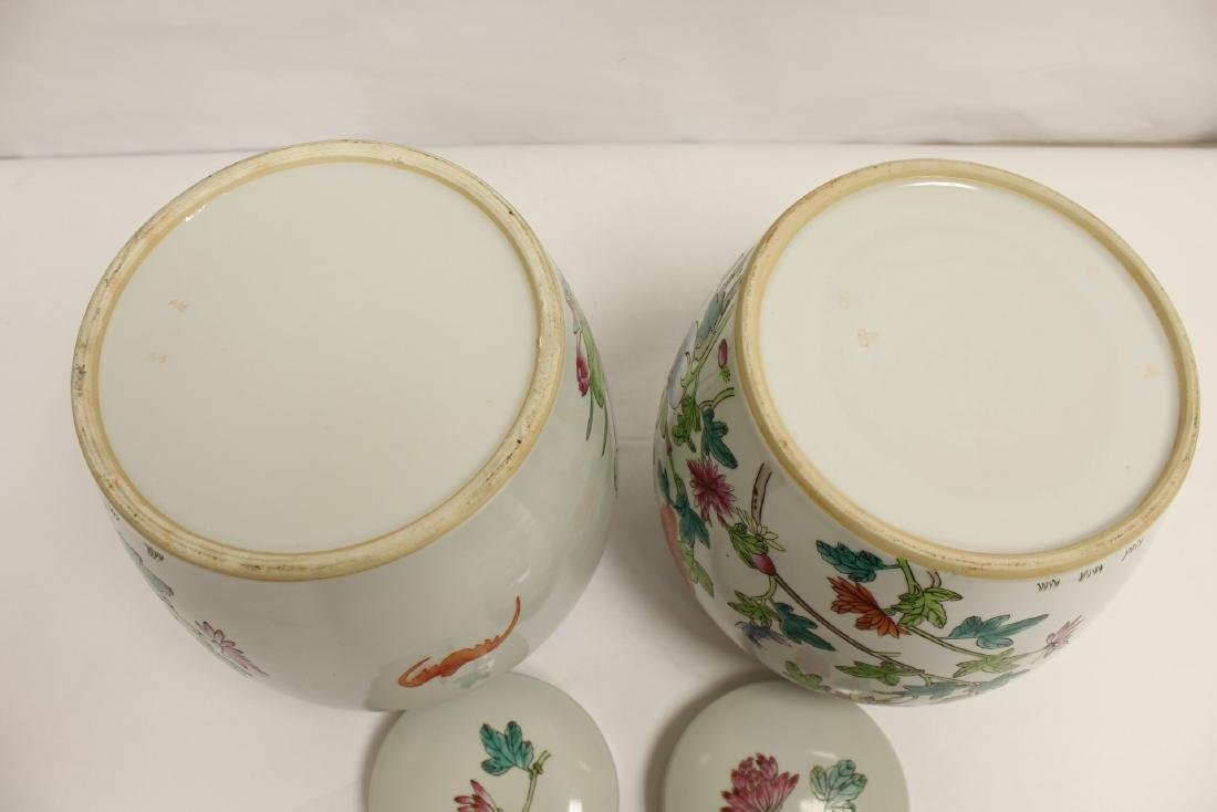 2 Chinese famille rose porcelain covered jars - 9